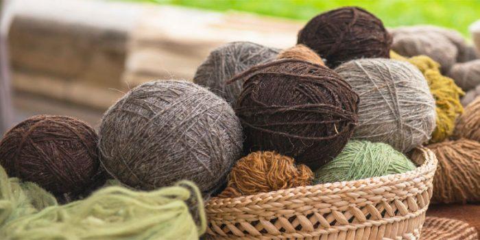 Alpaca wool in a basket